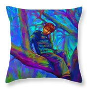 Small Boy In Large Tree Throw Pillow