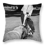 Small Boy Totes Heavy Golf Bag Throw Pillow