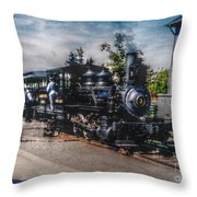 Small Boy Waiting For Steam Engine Throw Pillow by Janice Sakry