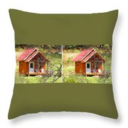 Small Cabin In Stereo Throw Pillow