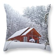 Small Cabin In The Snow Throw Pillow
