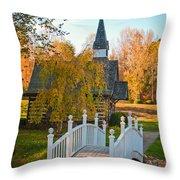 Small Chapel Across The Bridge In Fall Throw Pillow