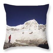 Small Climber Big Peaks Throw Pillow