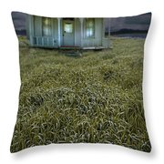 Small Cottage In Storm Throw Pillow