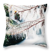 Small Creek Freezing Up Forming Icicles Throw Pillow
