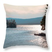 Small Dock On Lake George Throw Pillow