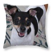 Small Dog Big Smile Throw Pillow