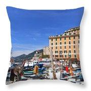 small harbor in Camogli. Italy Throw Pillow