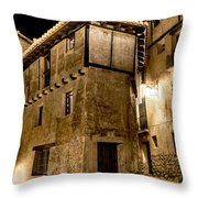 Small House In Albarracin At Night Throw Pillow