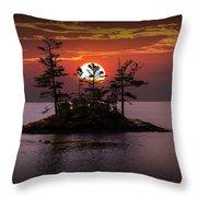 Small Island At Sunset Throw Pillow