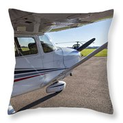 Small Plane In Private Airport Throw Pillow