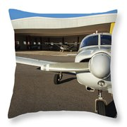 Small Planes In Private Airport Throw Pillow