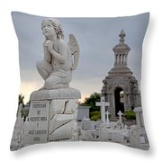 Small Praying Angel And Chapel Throw Pillow