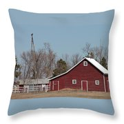 Small Red Barn With Windmill Throw Pillow