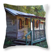 Small Shop In Horseshoe Throw Pillow