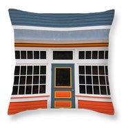 Small Store Front Entrance Colorful Wooden House Throw Pillow