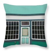 Small Store Front Entrance To Green Wooden House Throw Pillow