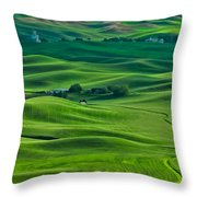 Small Town In The Lush Green Hills Throw Pillow