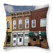 Small Town Main Street Shops Throw Pillow