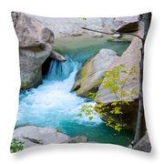 Small Virgin River Waterfall In Zion Canyon Narrows In Zion Np-ut Throw Pillow