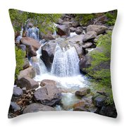 Small Waterfall Near Hwy 120 Roadside In Yosemite Np-ca- 2013 Throw Pillow