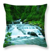 Small Waterfall On The Paradise River Throw Pillow