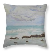 Small Waves Breaking Near Rocks Throw Pillow