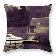 Small White Yacht In The Water Of The Caledonian Canal Throw Pillow