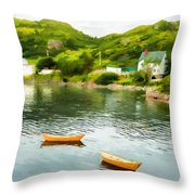 Small Yellow Boats Throw Pillow