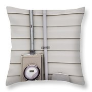 Smart Grid Power Supply Meter And Phone Line Drop Throw Pillow