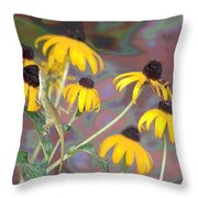 Smell The Flowers Lizard Throw Pillow