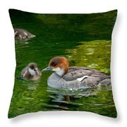 Smew With Ducklings Throw Pillow