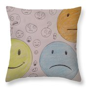 Smiley Face And Friends Throw Pillow
