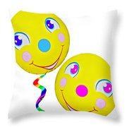 Smiley Face Balloons Throw Pillow
