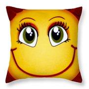 Smiley Sun Throw Pillow