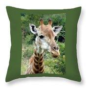 Smiling Giraffe Throw Pillow