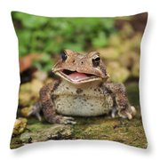 Happy Toad Throw Pillow