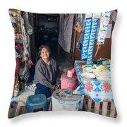 Smiling Vendor Throw Pillow