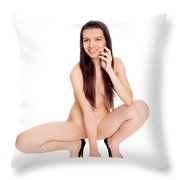 Smillung Nude Brunette Throw Pillow
