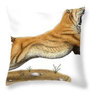 Smilodon Saber-toothed Tiger Throw Pillow