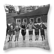 Smith Girls Skate On Paradise Pond Throw Pillow
