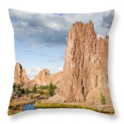 Smith Rock And The Crooked River Throw Pillow
