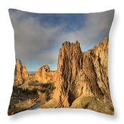 Smith Rock Foggy Morning Throw Pillow