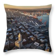 Smith Tower And West Seattle Throw Pillow