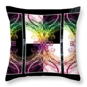 Smoke Art Triptych Throw Pillow