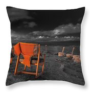 Smoke Break In The Ruins Black And White Throw Pillow