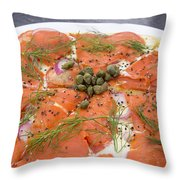 Smoked Salmon Pizza Closeup Throw Pillow