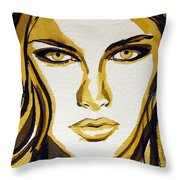 Smokey Eyes Woman Portrait Throw Pillow by Patricia Awapara