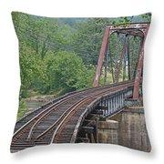 Smokey Mountain Railroad Steel Girder Bridge Throw Pillow