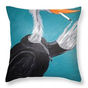 Smoking Egret In Leather Jacket Throw Pillow